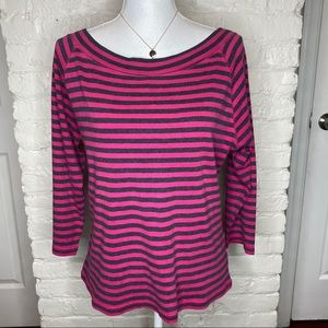 Gap Pink And Gray Striped 3/4 Sleeves Top Size XL